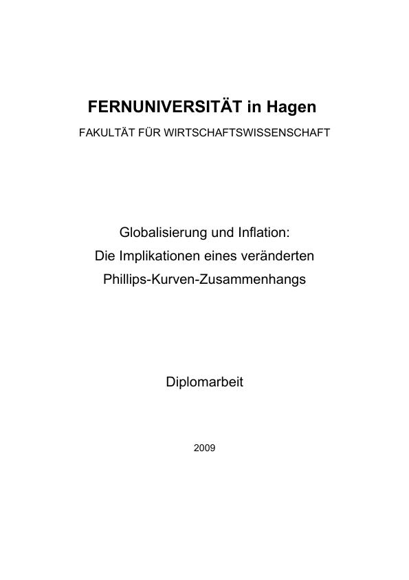 Titel: Globalisierung und Inflation - Die Implikationen eines veränderten Phillips-Kurven-Zusammenhangs