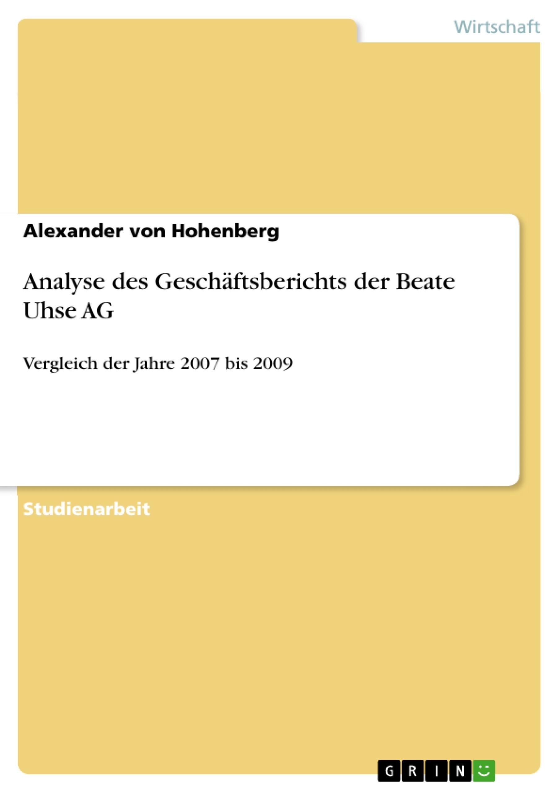 Titel: Analyse des Geschäftsberichts der Beate Uhse AG