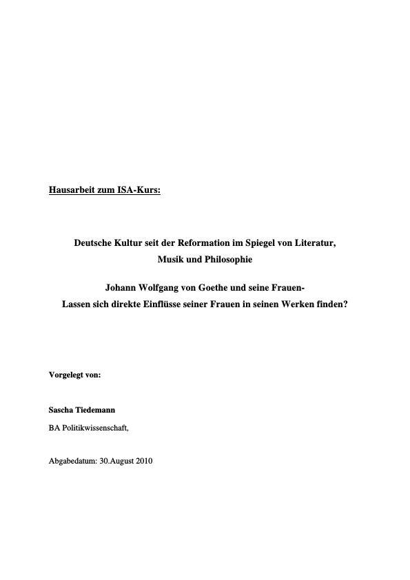 Titel: Johann Wolfgang von Goethe und seine Frauen