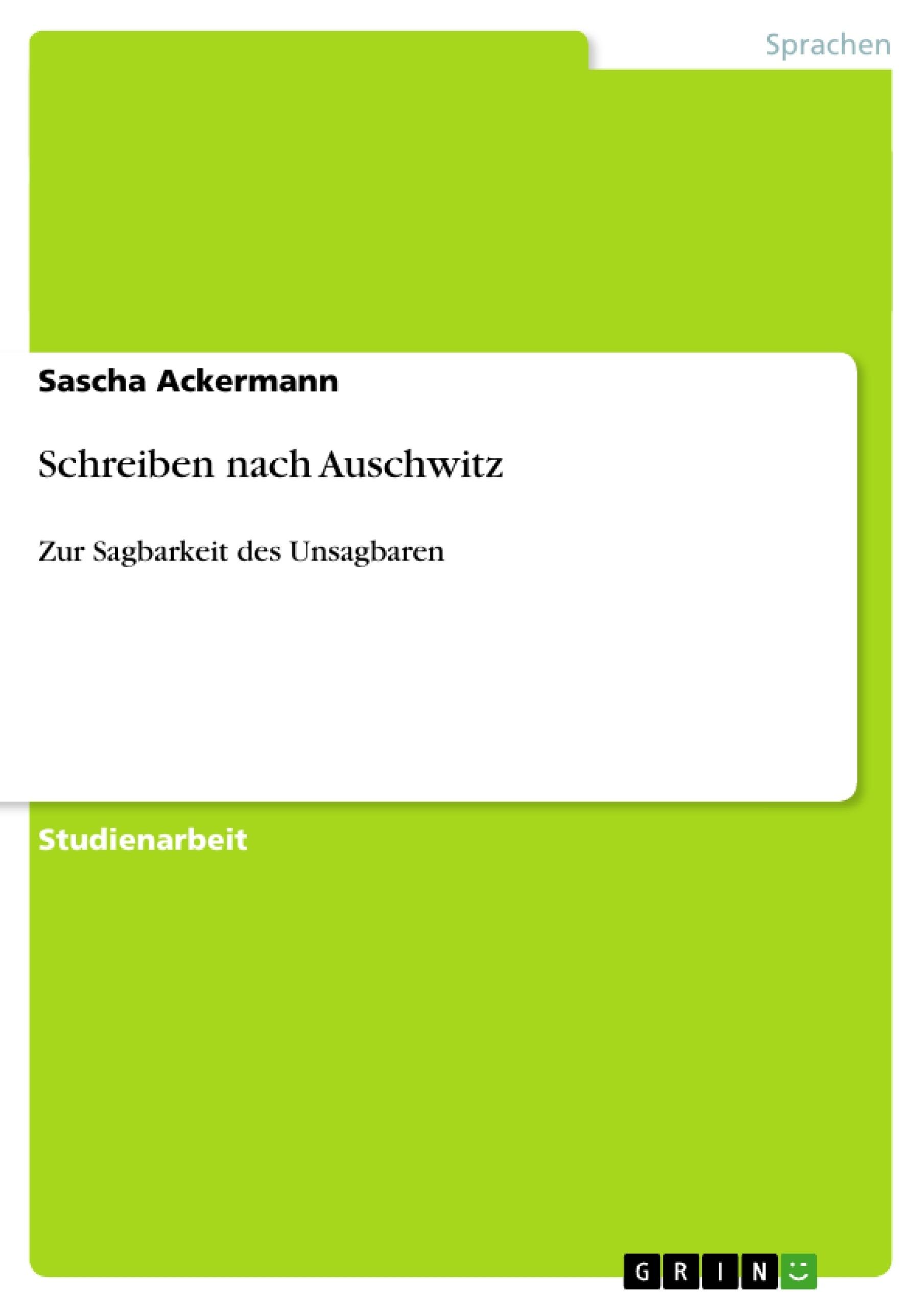 Titel: Schreiben nach Auschwitz