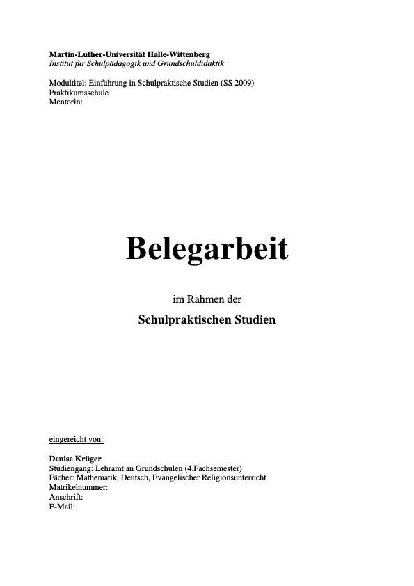 Titel: Praktikumsbeleg im Rahmen der Schulpraktischen Studien