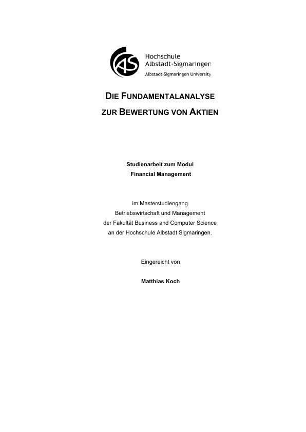 Titel: Die Fundamentalanalyse zur Bewertung von Aktien