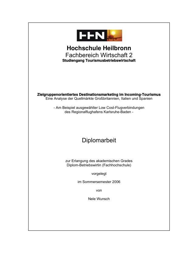 Zielgruppenorientiertes Destinationsmarketing im ... | Hausarbeiten ...