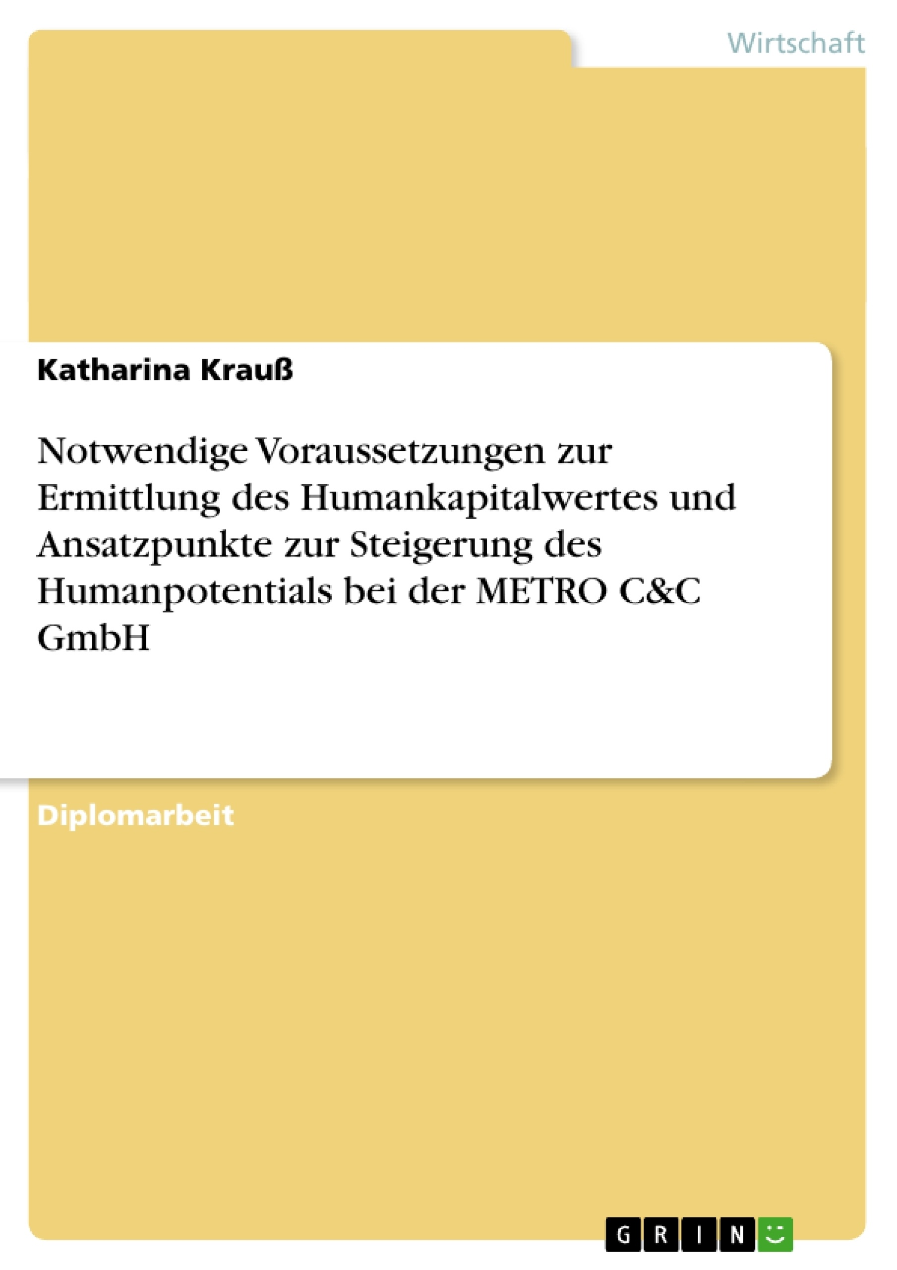 Titel: Notwendige Voraussetzungen zur Ermittlung des Humankapitalwertes und Ansatzpunkte zur Steigerung des Humanpotentials bei der METRO C&C GmbH