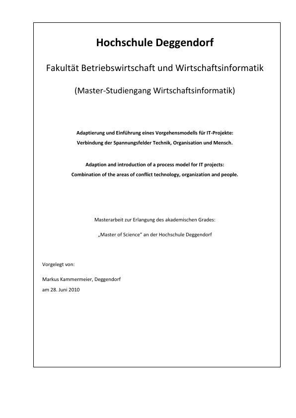 Titel: Adaptierung und Einführung eines Vorgehensmodells für IT-Projekte