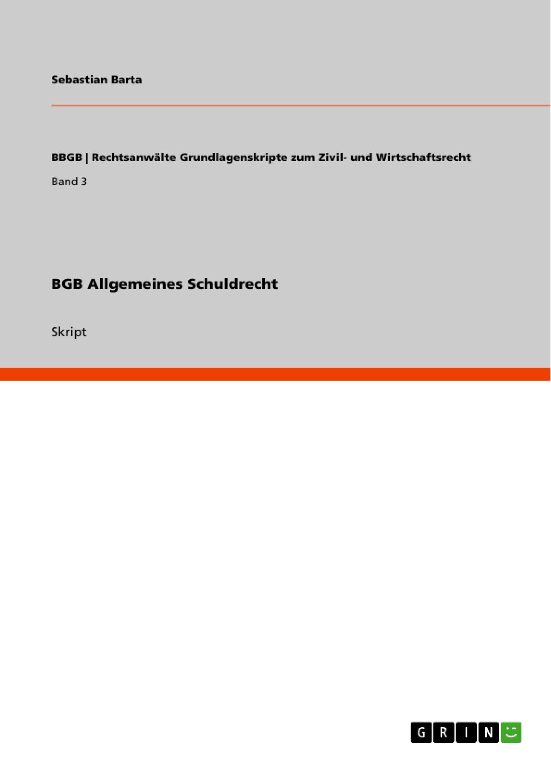 Titel: BGB Allgemeines Schuldrecht