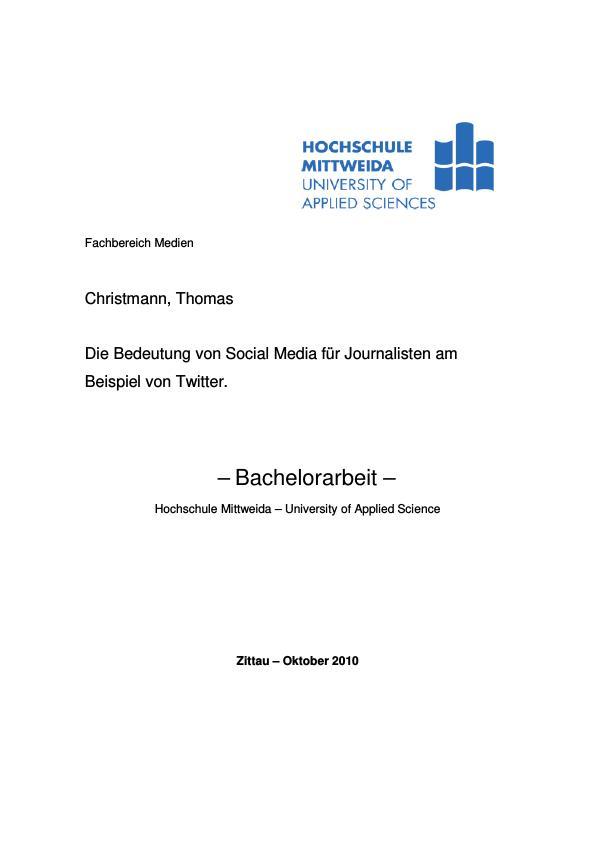 Titel: Die Bedeutung von Social Media für Journalisten am Beispiel von Twitter