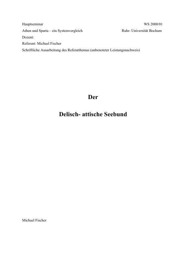 Titel: Delisch-attischer Seebund Hausarbeit