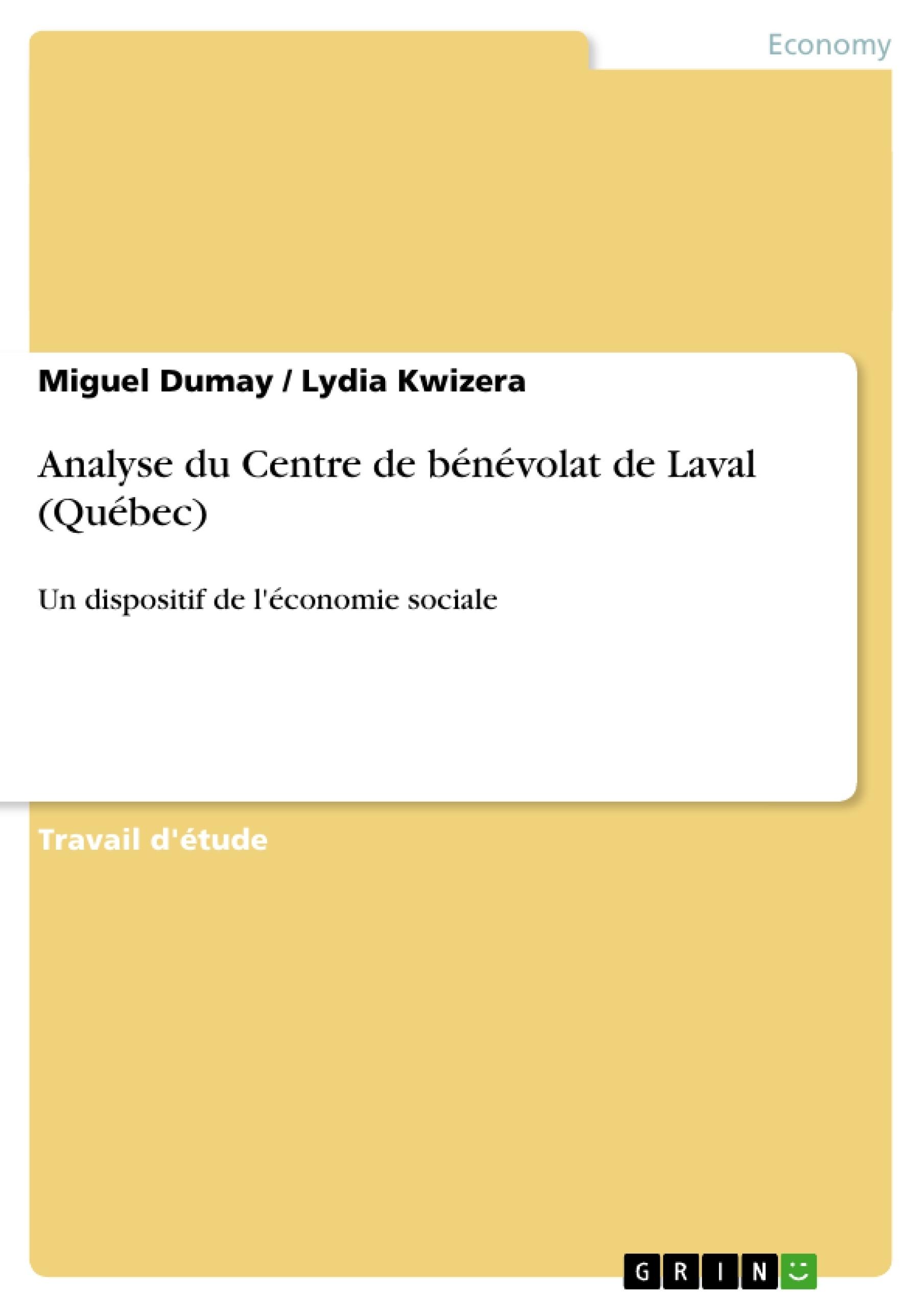 Titre: Analyse du Centre de bénévolat de Laval (Québec)