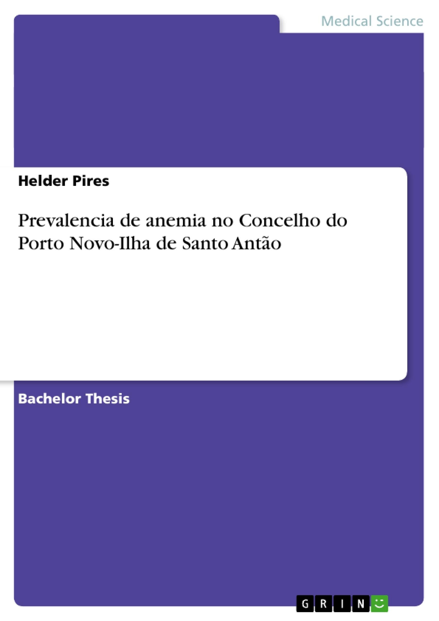 Title: Prevalencia de anemia no Concelho do Porto Novo-Ilha de Santo Antão