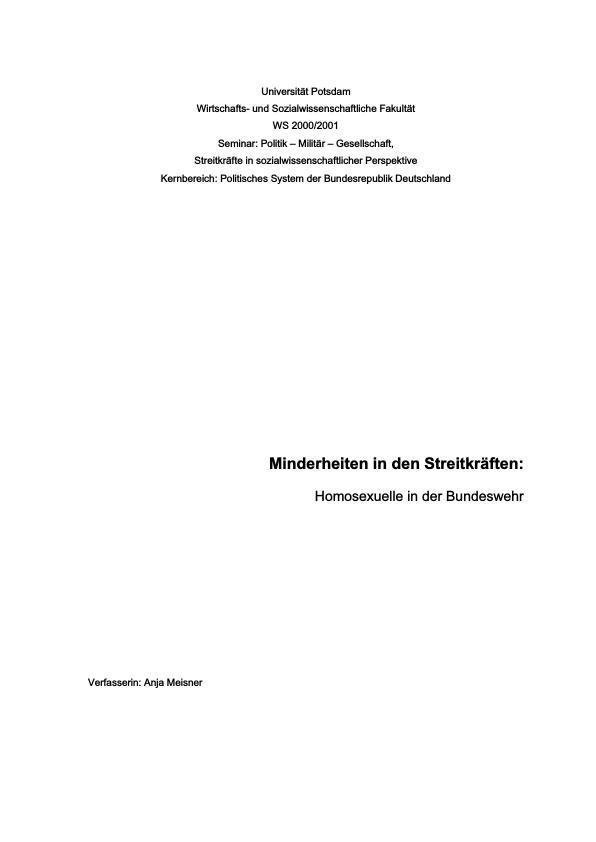Titel: Minderheiten in den Streitkräften: Homosexuelle in der Bundeswehr