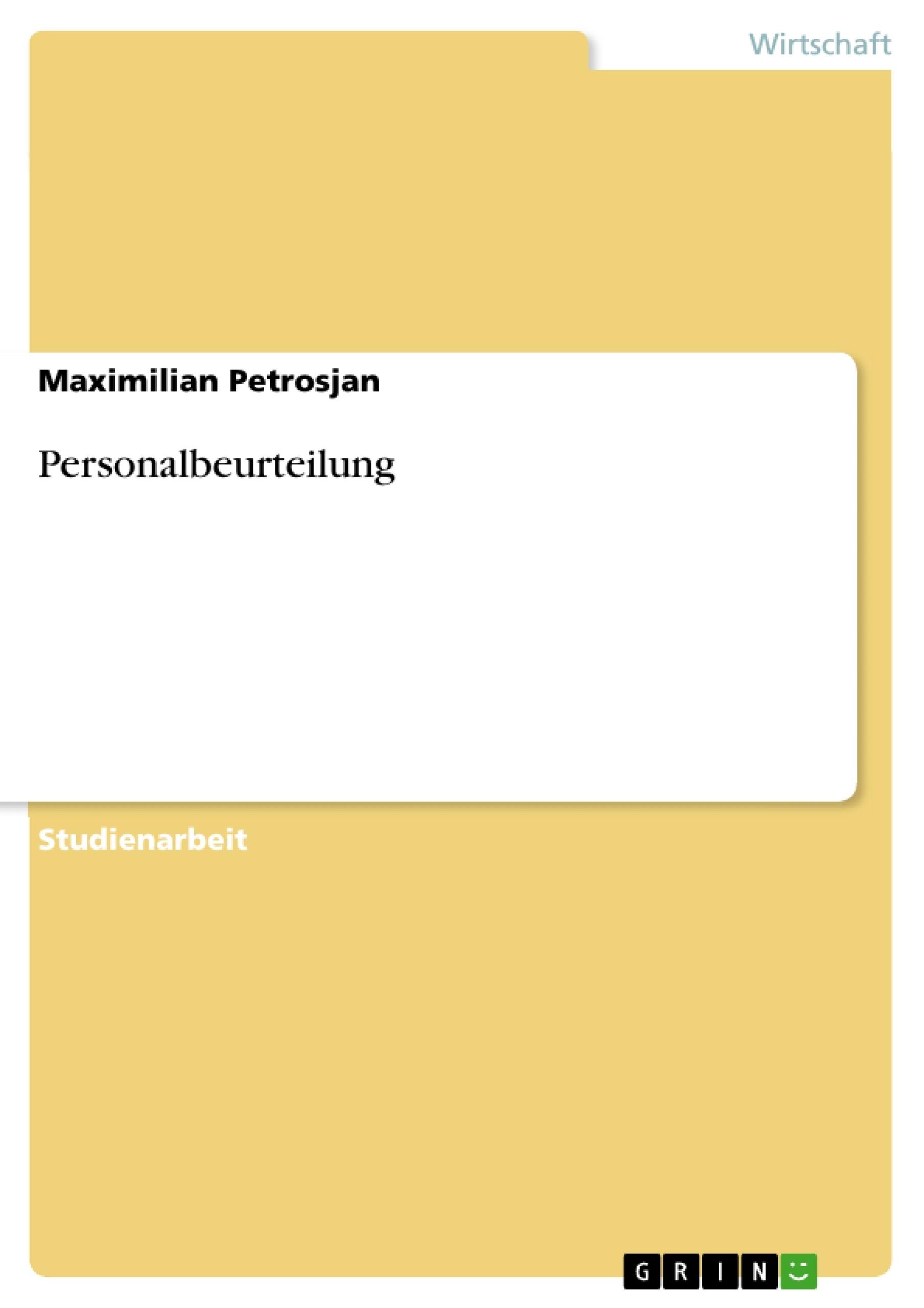 Personalbeurteilung | Masterarbeit, Hausarbeit, Bachelorarbeit ...