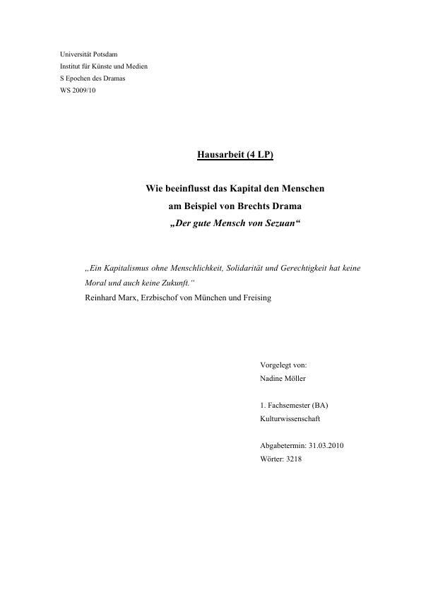 """Titel: Wie beeinflusst das Kapital den Menschen am Beispiel von Brechts Drama """"Der gute Mensch von Sezuan"""""""