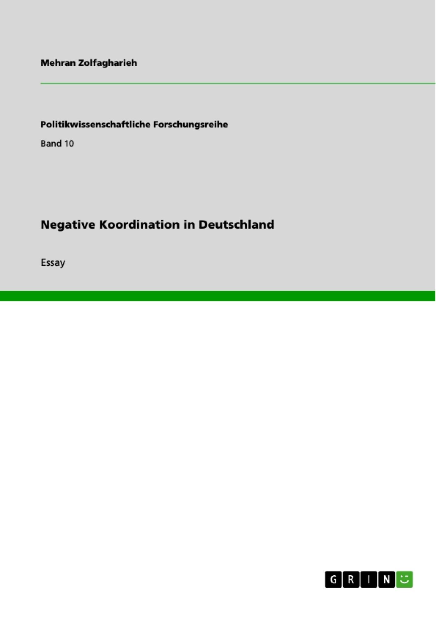 Titel: Negative Koordination in Deutschland