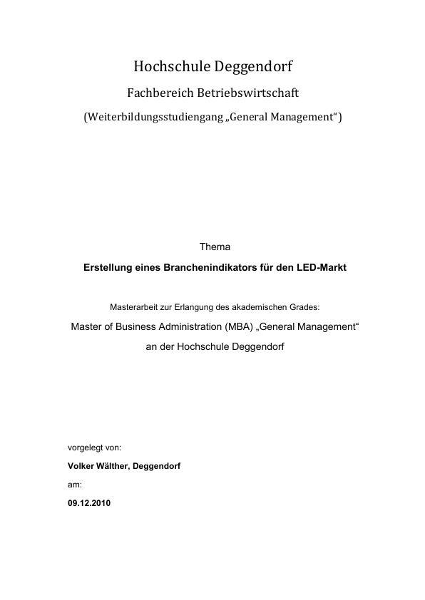 Titel: Erstellung eines Branchenindikators für den LED-Markt