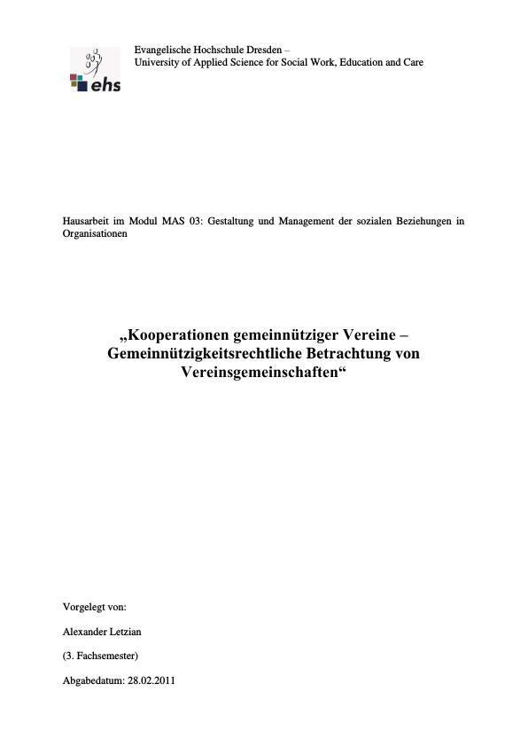 Titel: Kooperationen gemeinnütziger Vereine