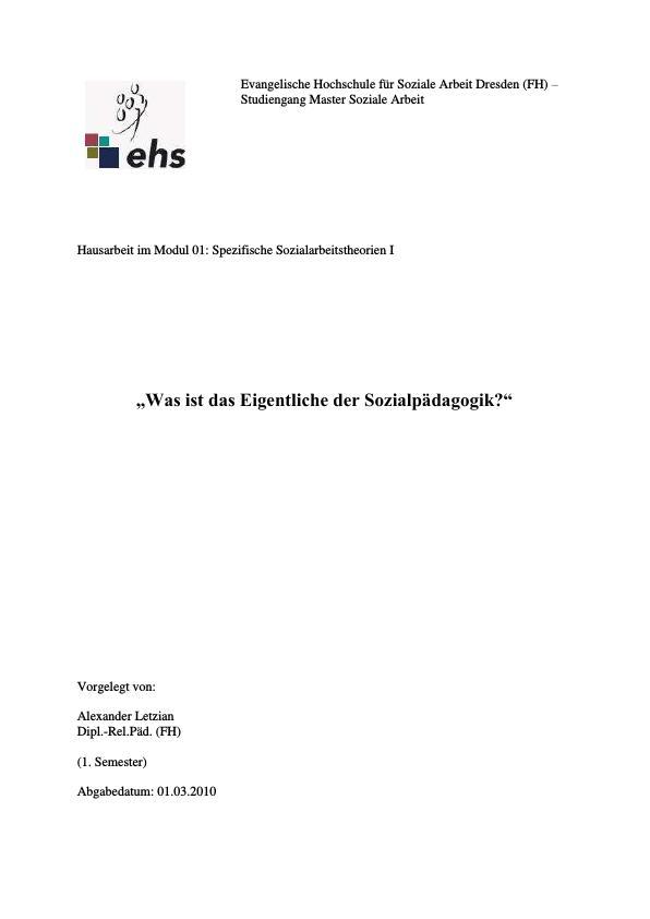 Titel: Was ist das Eigentliche der Sozialpädagogik?