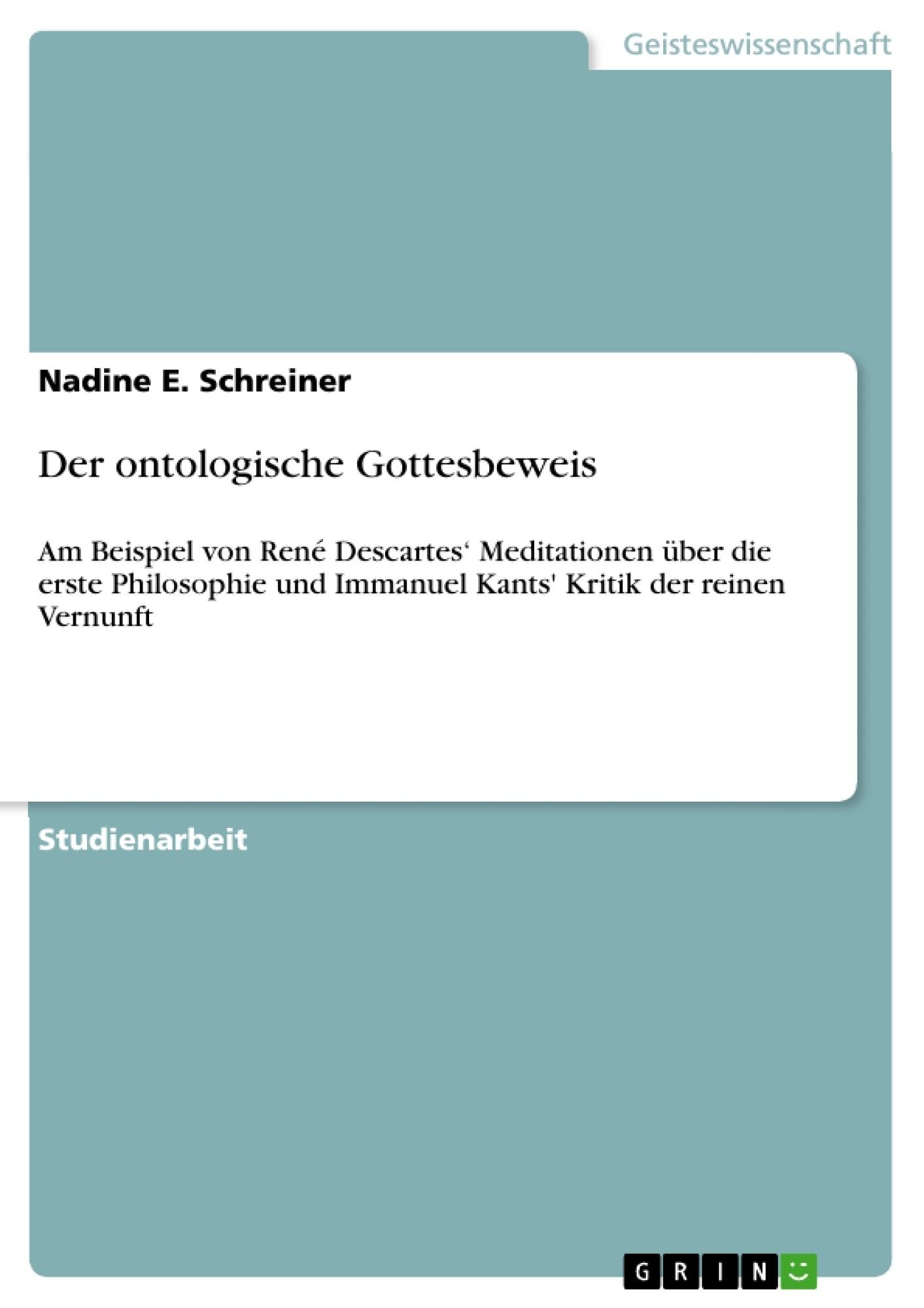 Titel: Der ontologische Gottesbeweis
