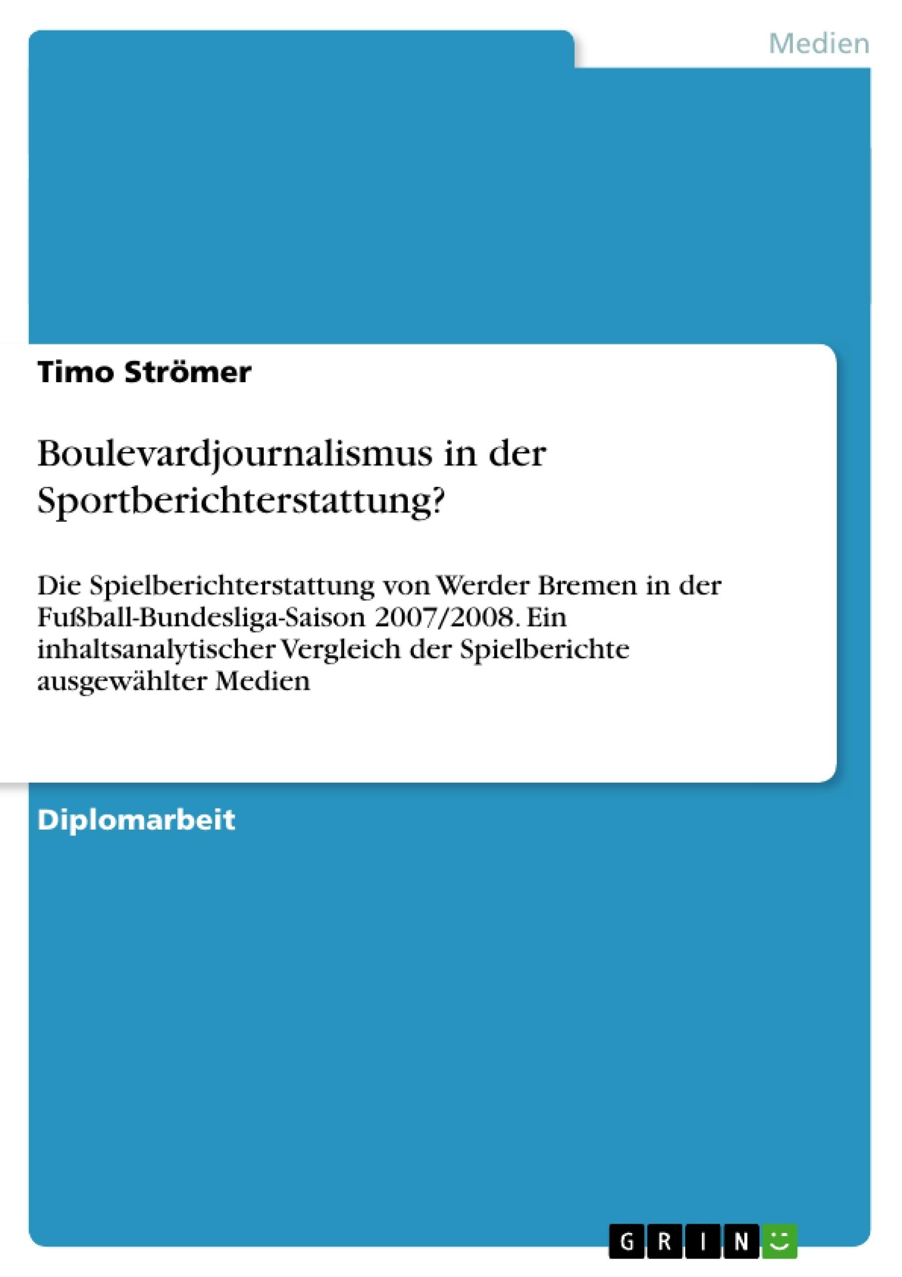 Titel: Boulevardjournalismus in der Sportberichterstattung?