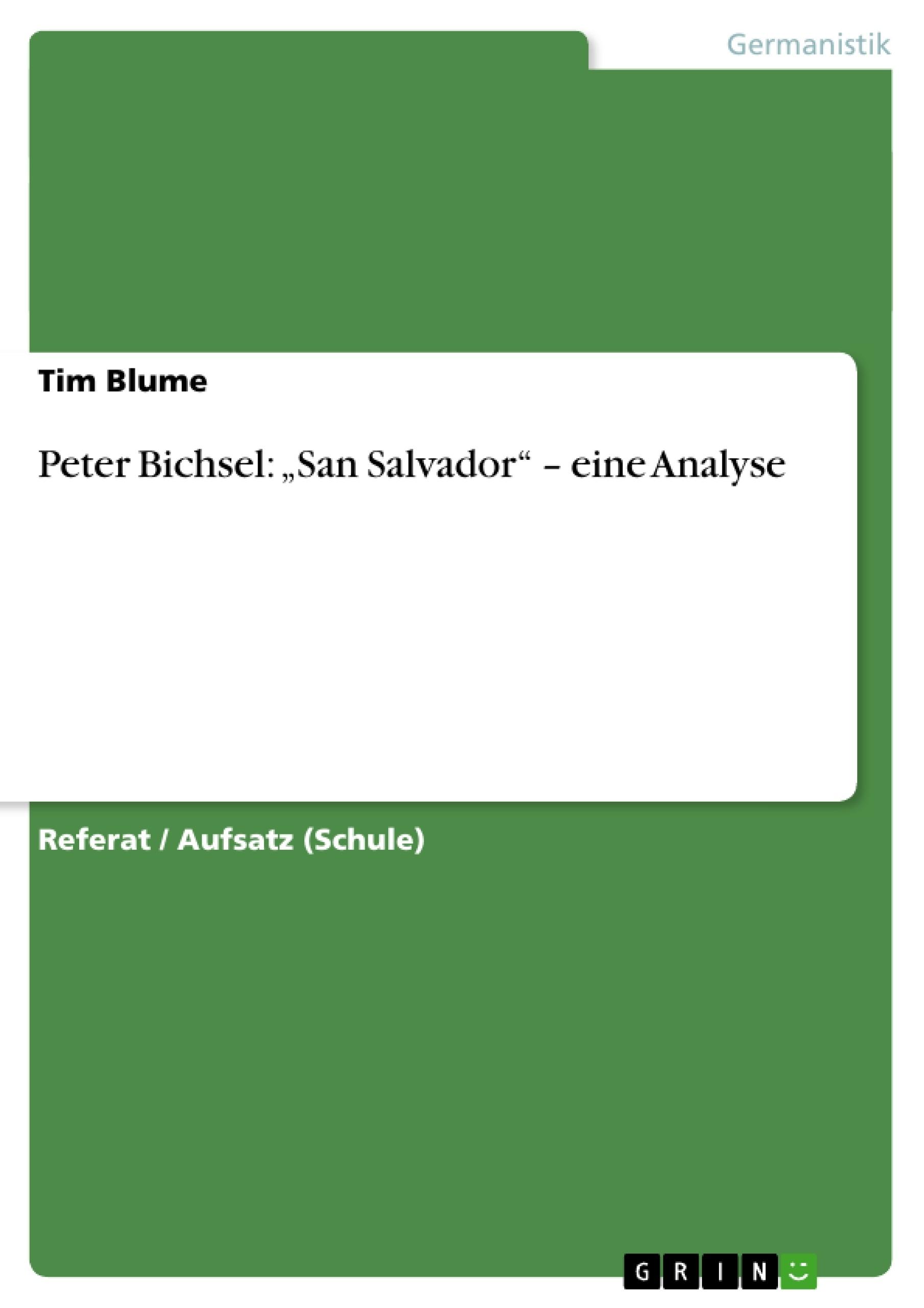Peter Bichsel San Salvador Eine Analyse Masterarbeit
