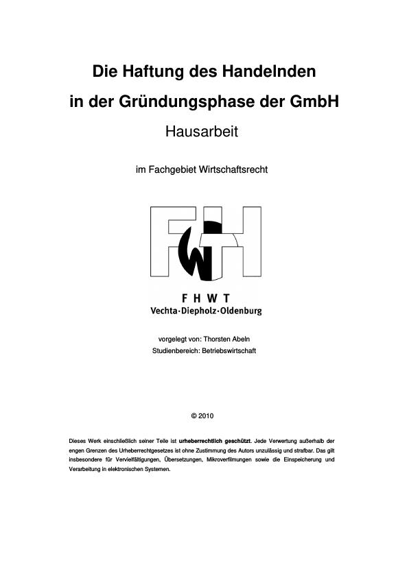 Titel: Die Haftung des Handelnden in der Gründungsphase der GmbH