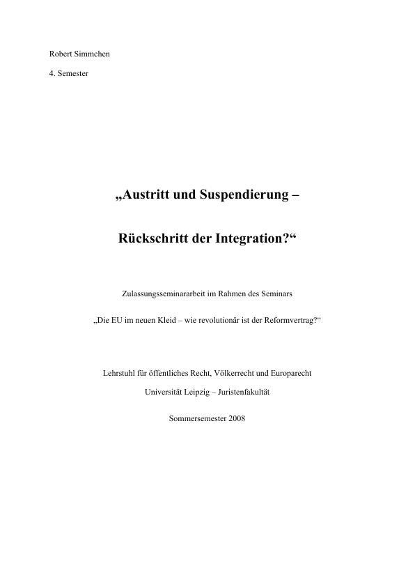 Titel: Austritt und Suspendierung - Rückschritt für die europäische Integration?