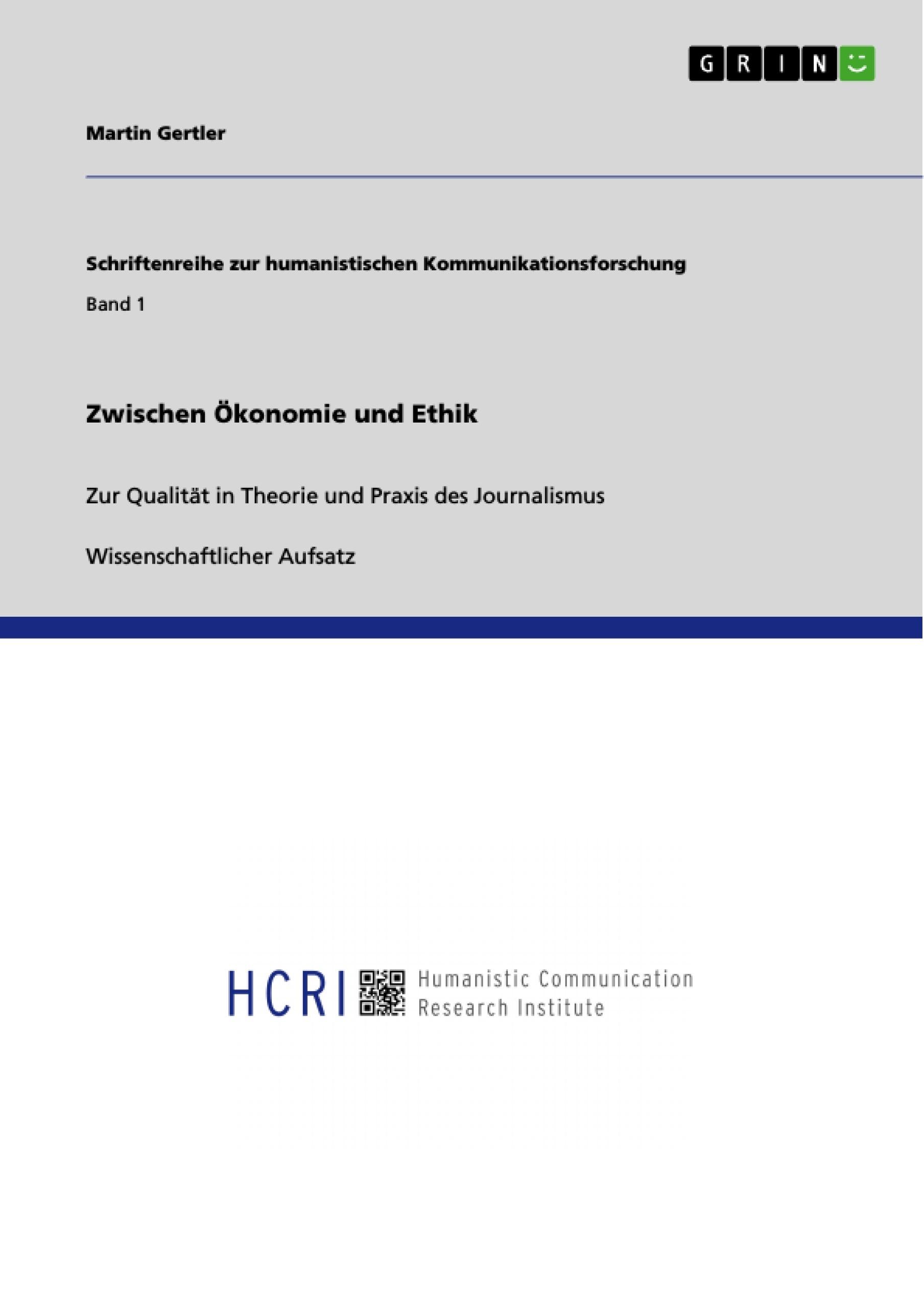 Titel: Zwischen Ökonomie und Ethik