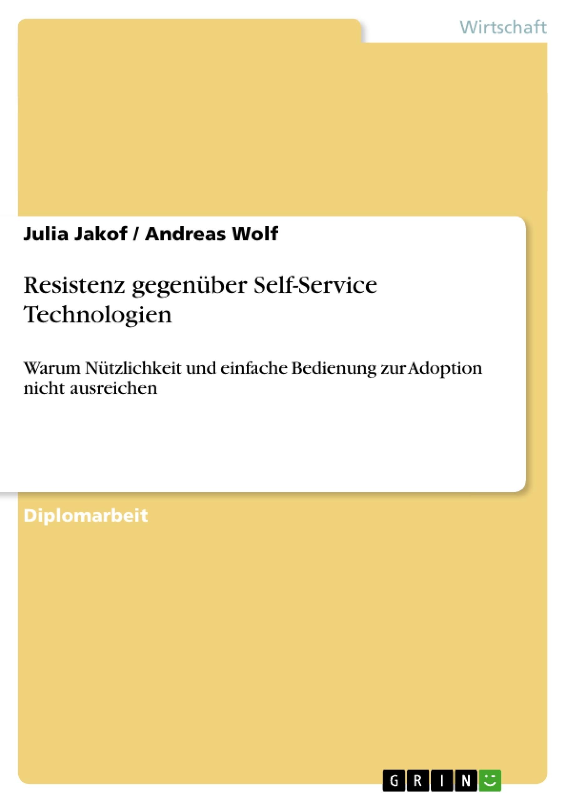 Titel: Resistenz gegenüber Self-Service Technologien