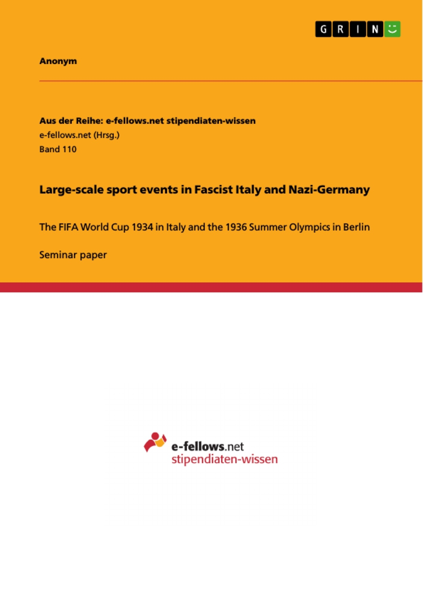 Title: Large-scale sport events in  Fascist Italy and Nazi-Germany