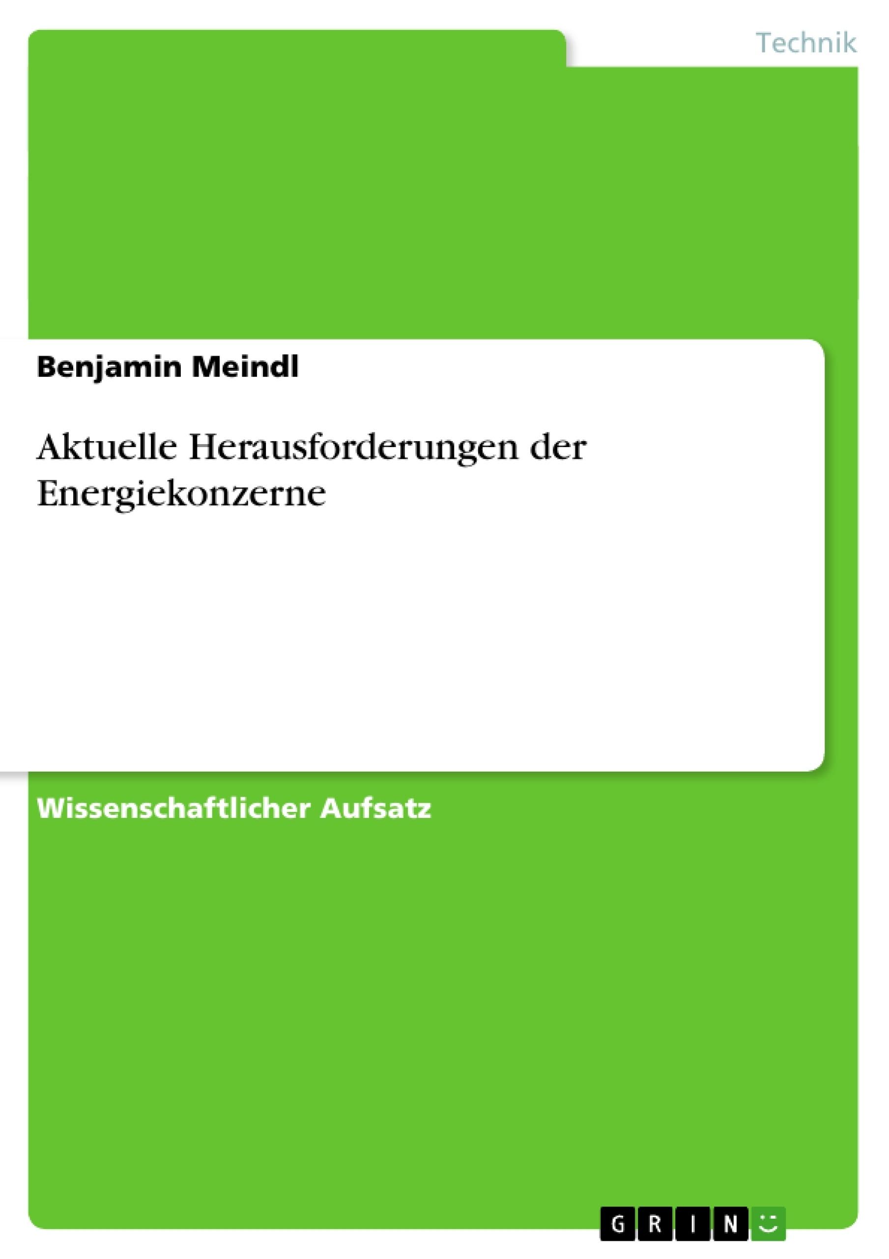 Titel: Aktuelle Herausforderungen der Energiekonzerne