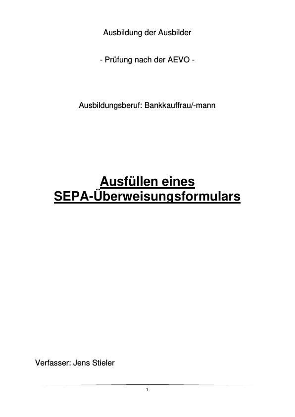 Titel: SEPA-Überweisung (Unterweisung Bankkaufmann / -kauffrau)
