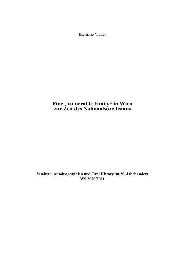 Titel: Eine 'vulnerable family' in Wien zur Zeit des Nationalsozialismus