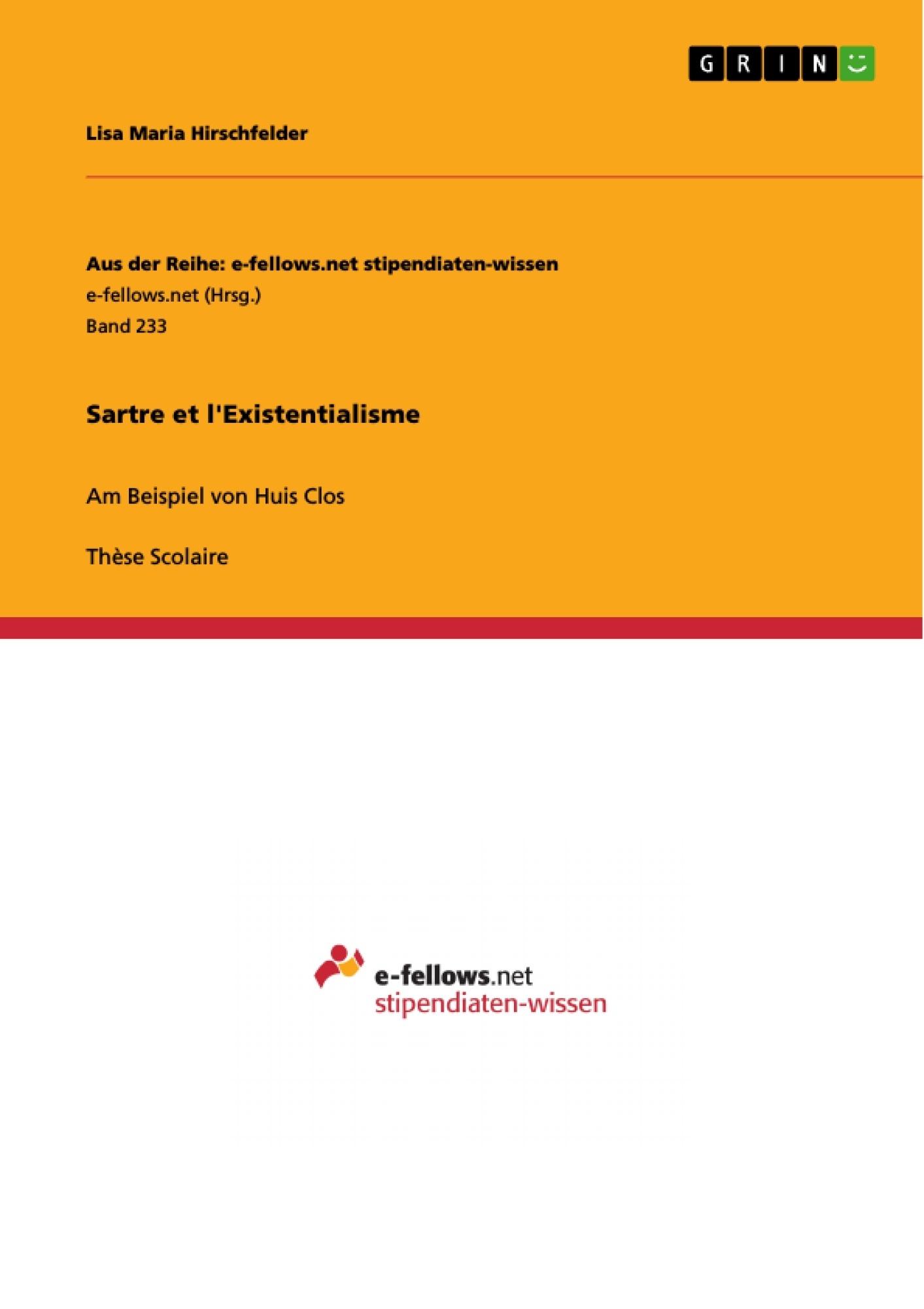 Titre: Sartre et l'Existentialisme