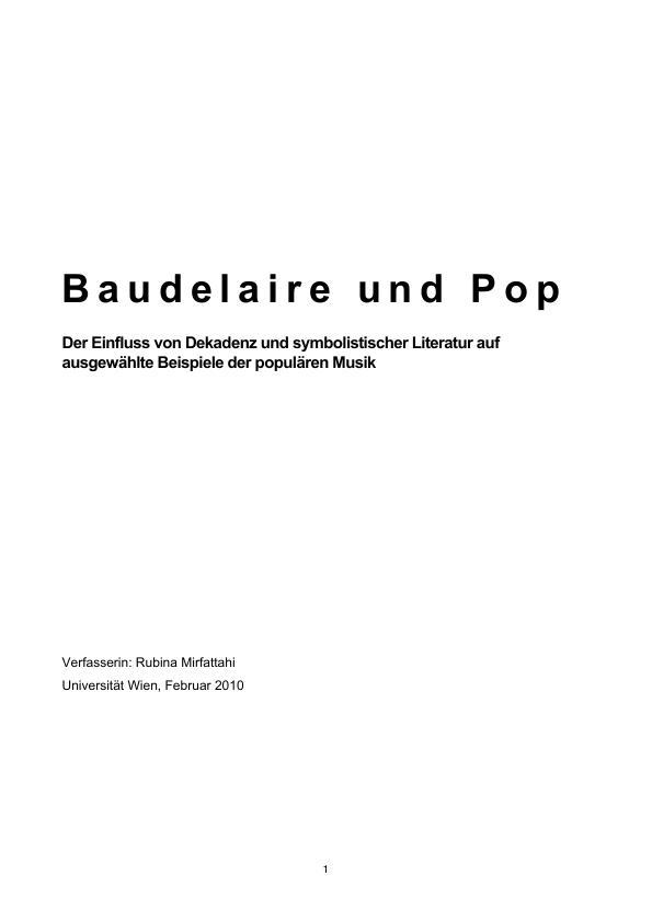 Titel: Baudelaire und Pop