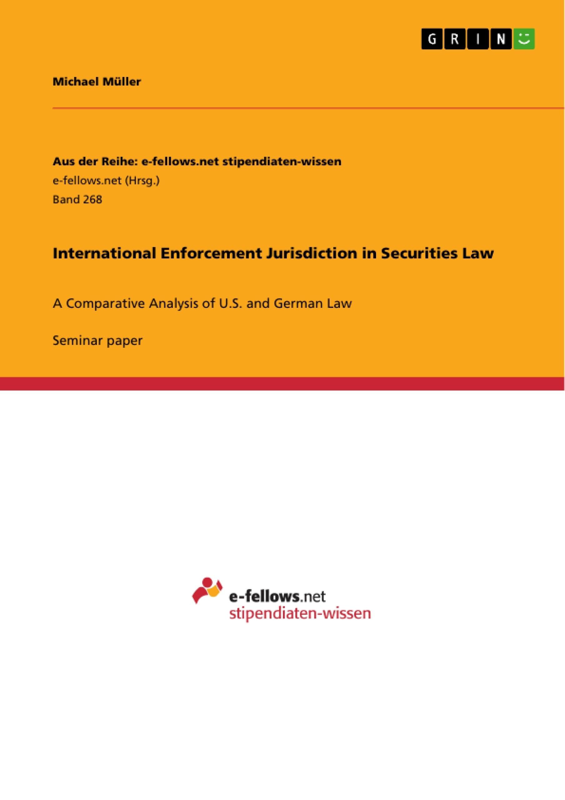 Title: International Enforcement Jurisdiction in Securities Law