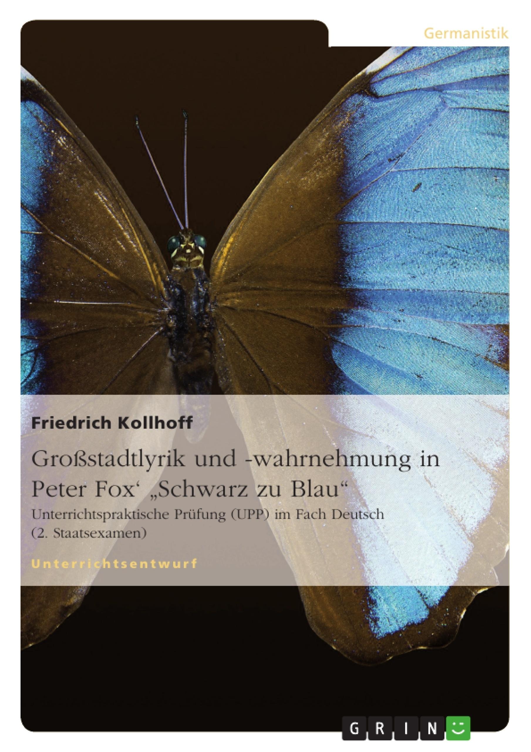 """Titel: Großstadtlyrik und -wahrnehmung in Peter Fox'  """"Schwarz zu Blau"""""""