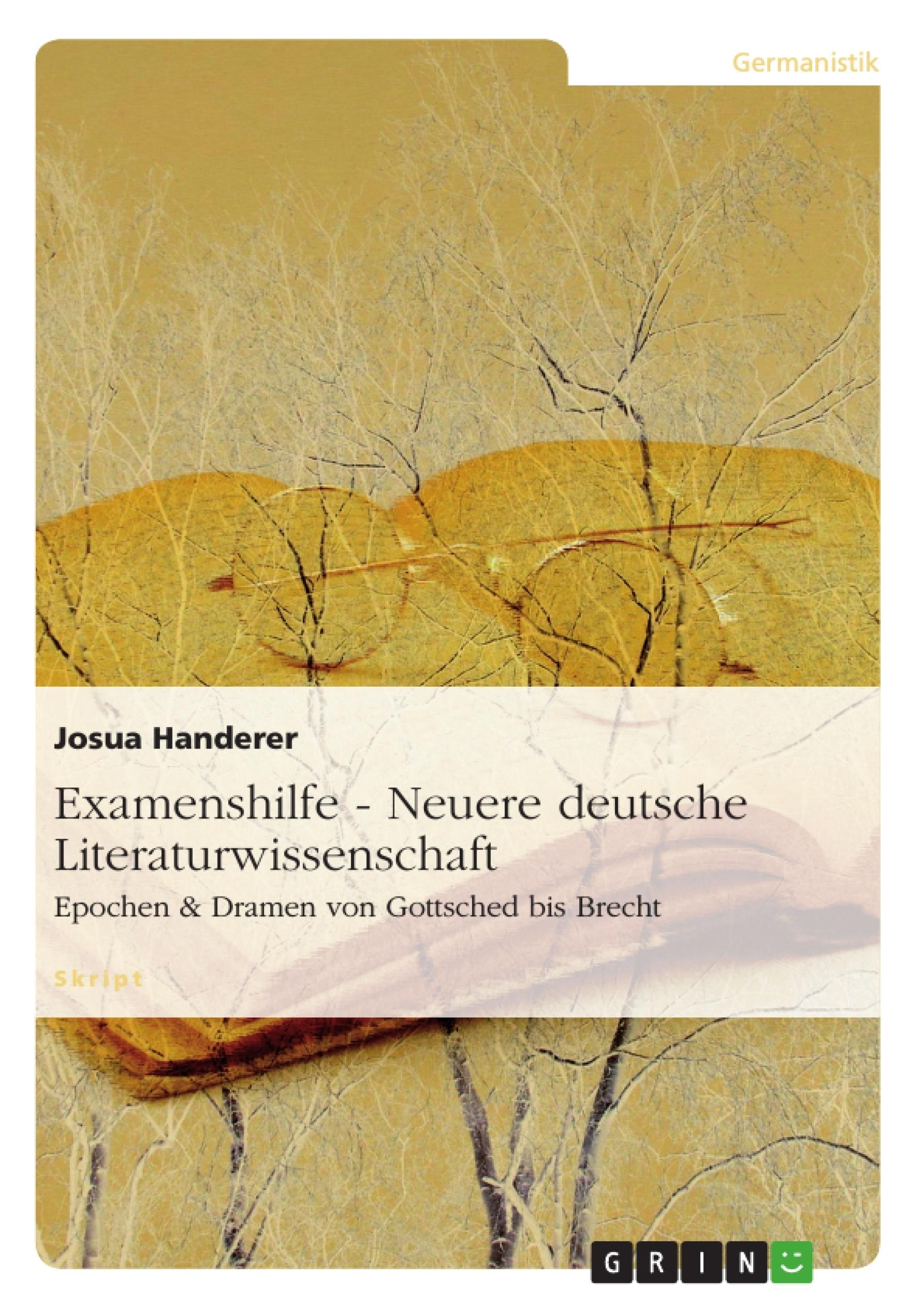 Examenshilfe - Neuere deutsche Literaturwissenschaft | Masterarbeit ...