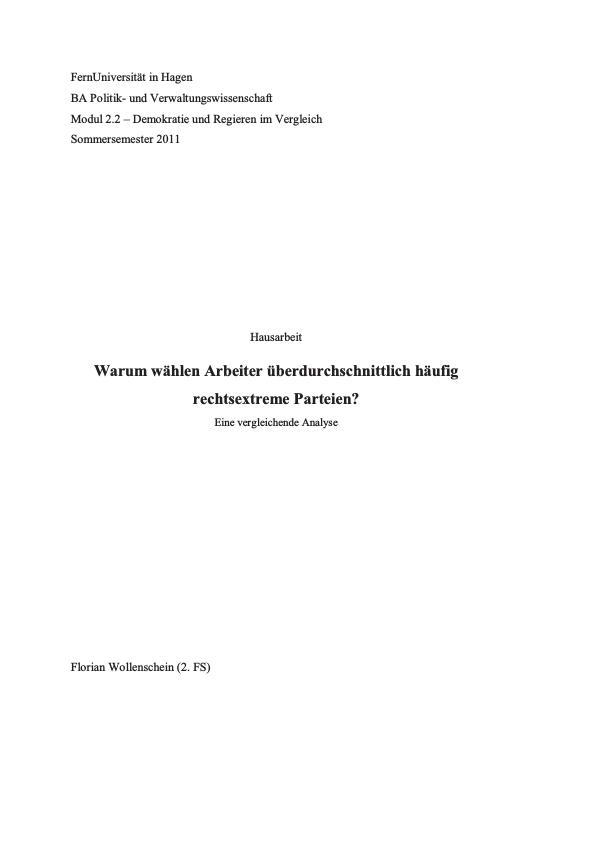 Titel: Warum wählen Arbeiter überdurchschnittlich häufig rechtsextreme Parteien?