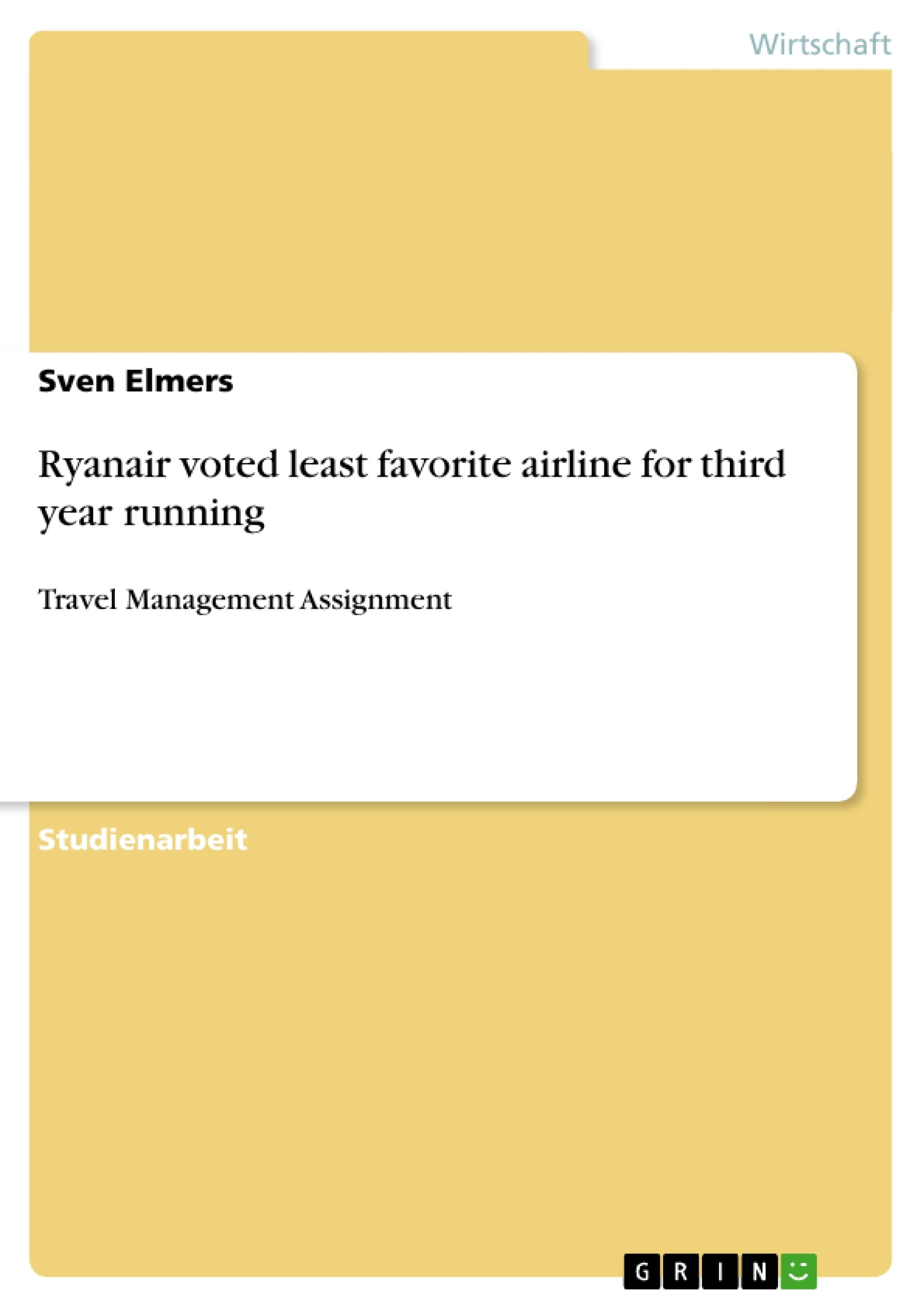 Titel: Ryanair voted least favorite airline for third year running
