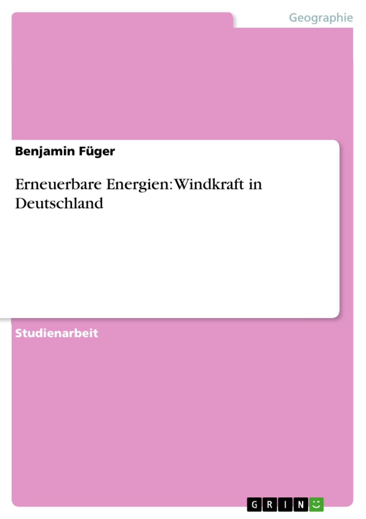 Titel: Erneuerbare Energien: Windkraft in Deutschland