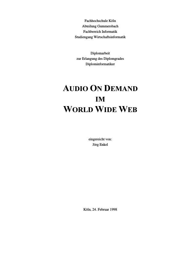 Titel: Audio on Demand im World Wide Web