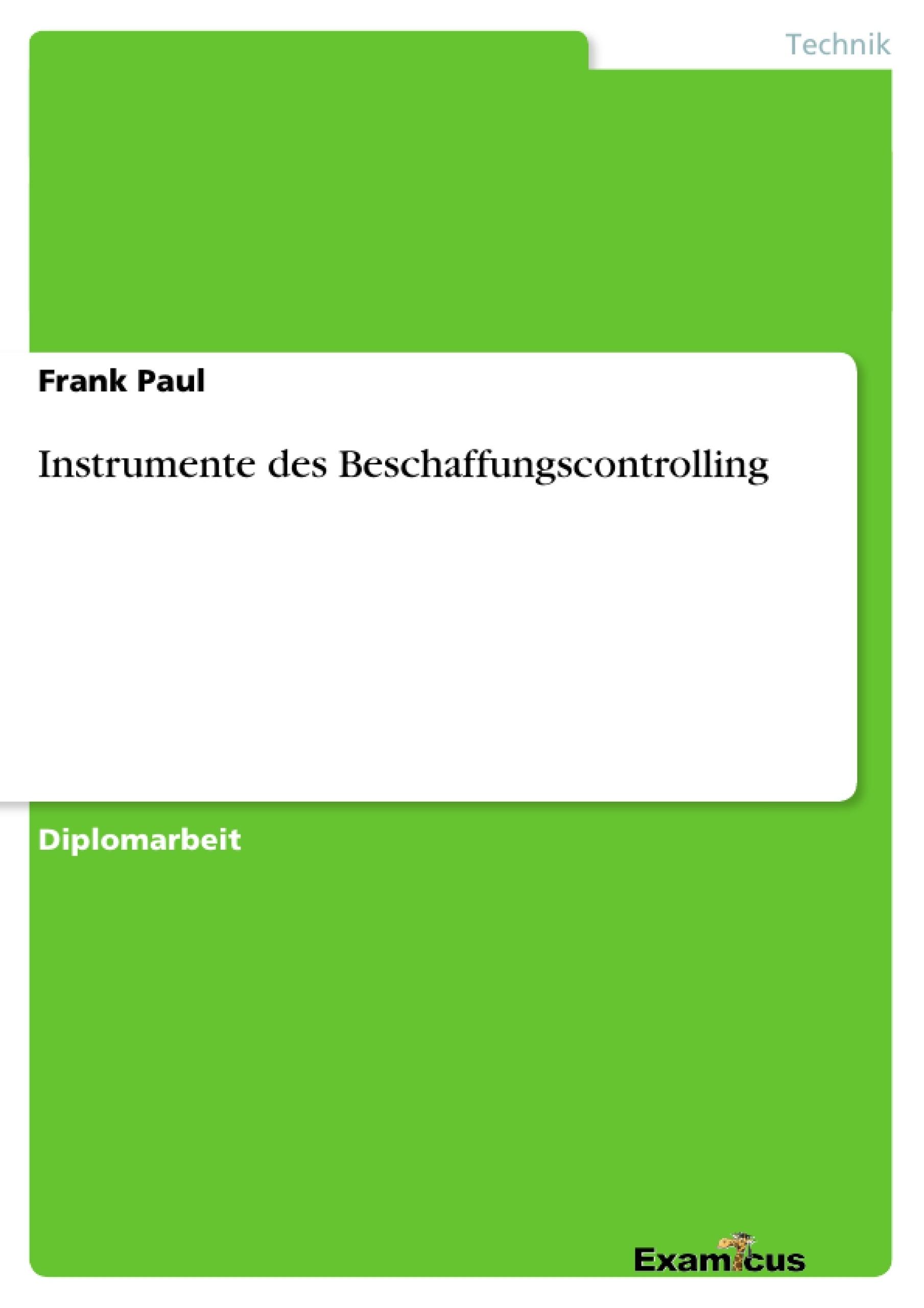 Titel: Instrumente des Beschaffungscontrolling