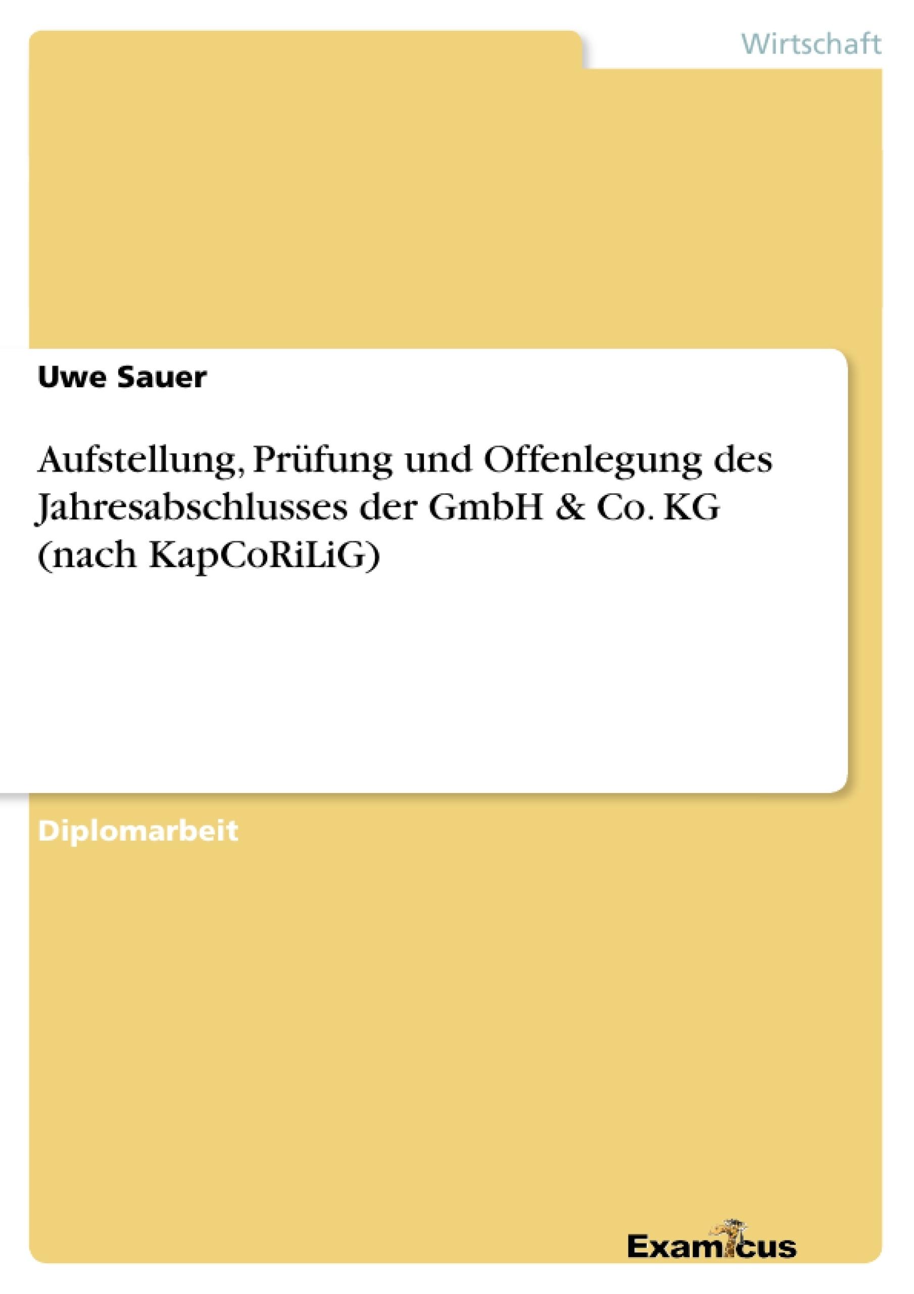 Titel: Aufstellung, Prüfung und Offenlegung des Jahresabschlusses der GmbH & Co. KG (nach KapCoRiLiG)