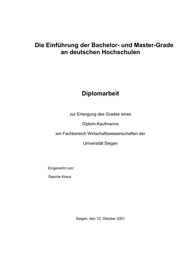 Titel: Die Einführung der Bachelor- und Master-Grade an deutschen Hochschulen