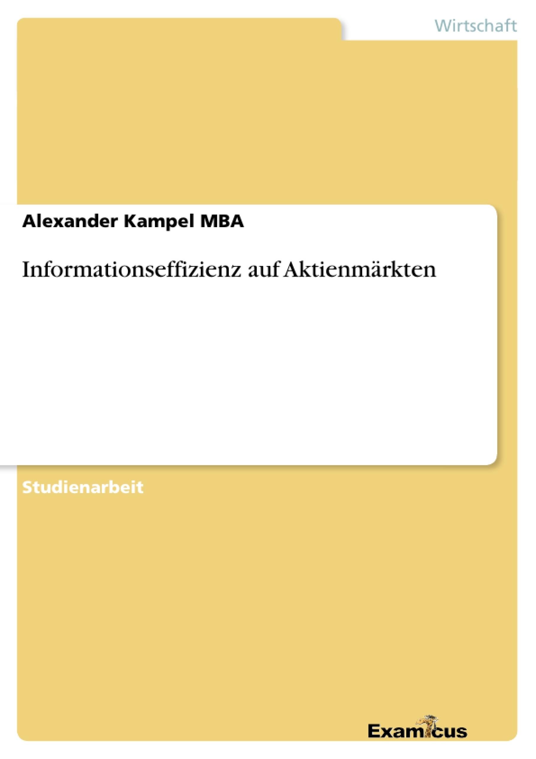 Titel: Informationseffizienz auf Aktienmärkten