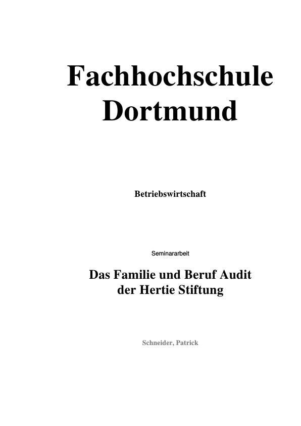 Titel: Das Beruf und Familie-Audit der Hertie-Stiftung