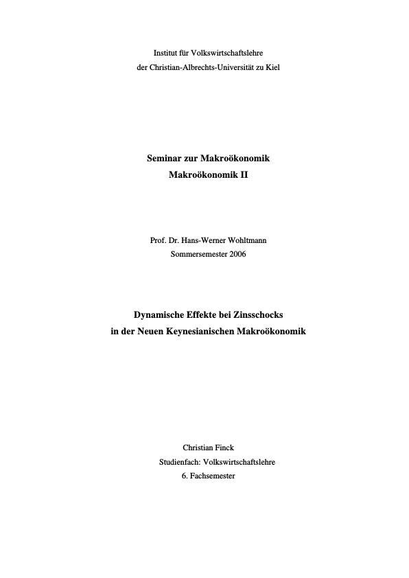 Titel: Dynamische Effekte bei Zinsschocks in der Neuen Keynesianschen Makroökonomie