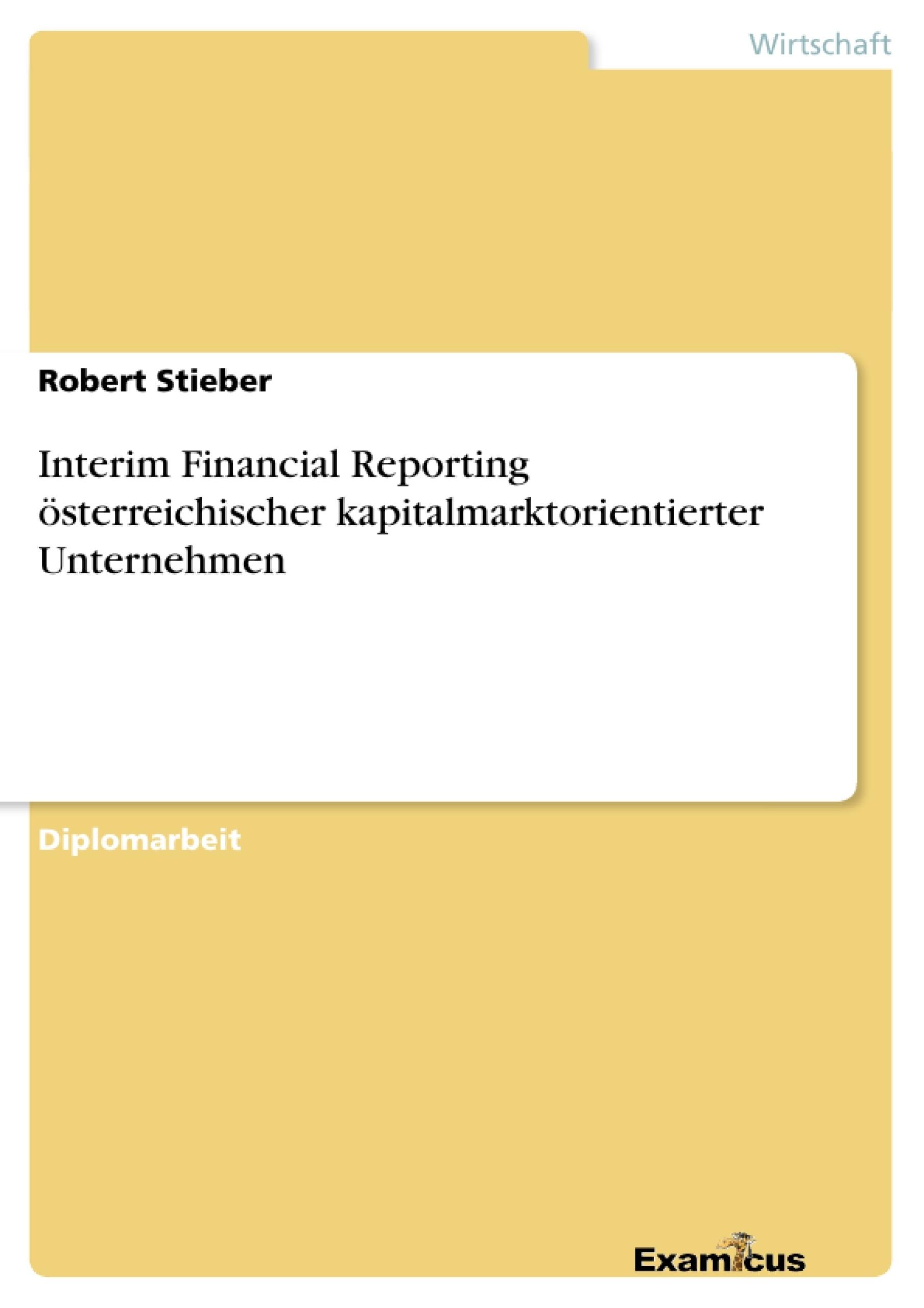 Interim Financial Reporting österreichischer ... | Masterarbeit ...