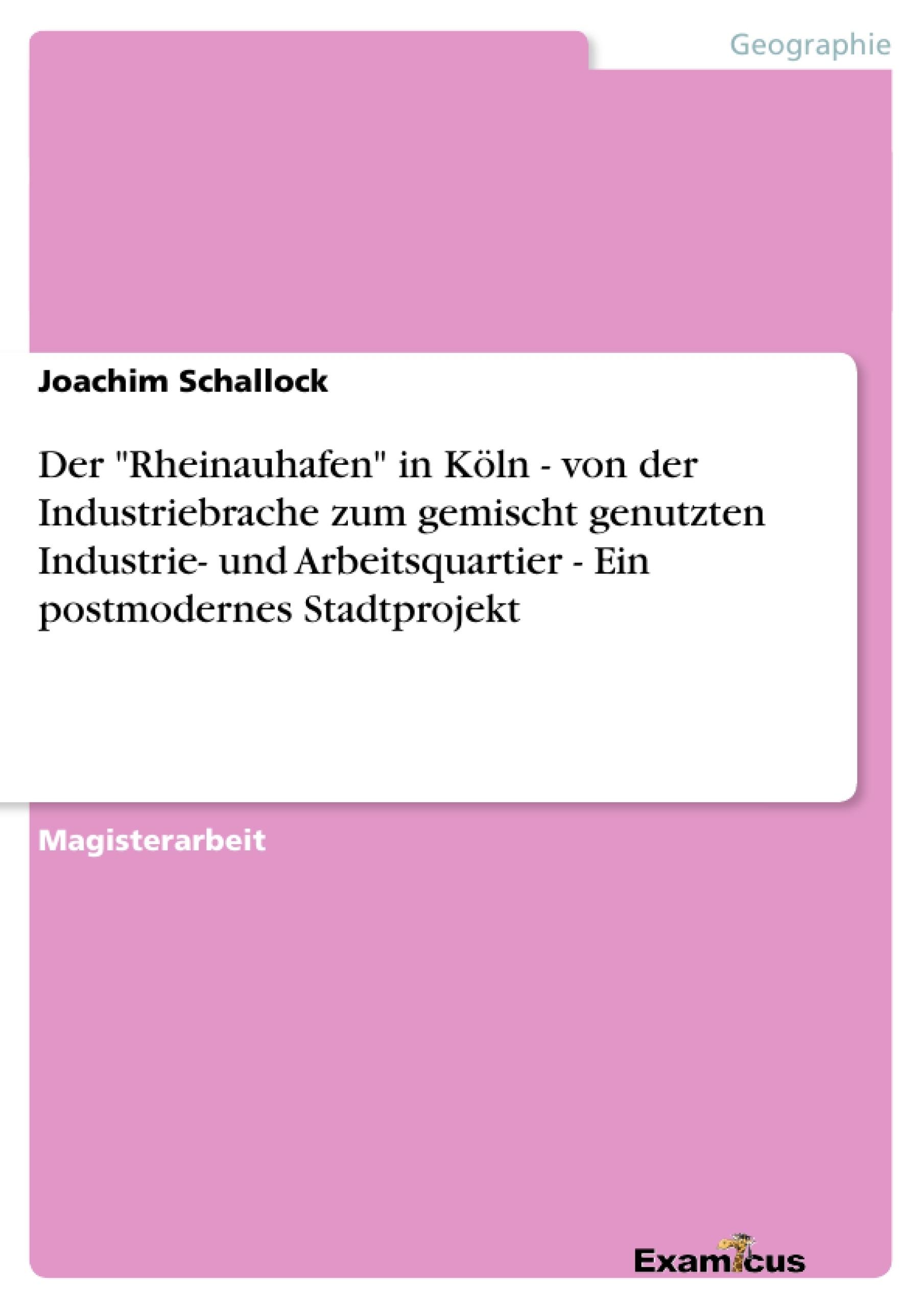 """Titel: Der """"Rheinauhafen"""" in Köln - von der Industriebrache zum gemischt genutzten Industrie- und Arbeitsquartier - Ein postmodernes Stadtprojekt"""