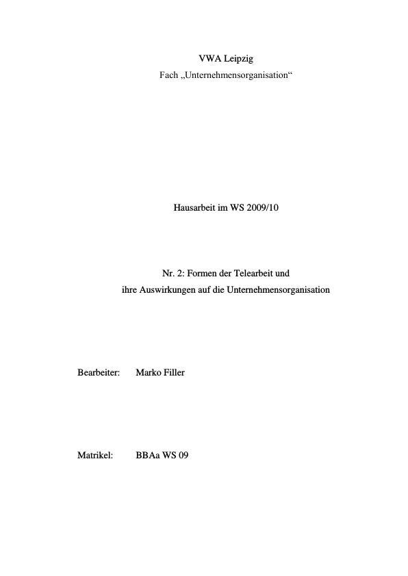 Titel: Formen der Telearbeit und ihre Auswirkungen auf die Unternehmensorganisation